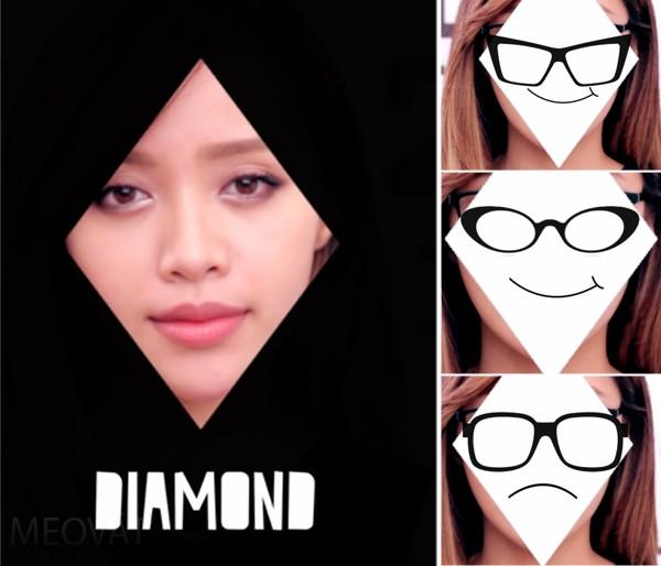 Mẫu kính hợp mặt hình kim cương